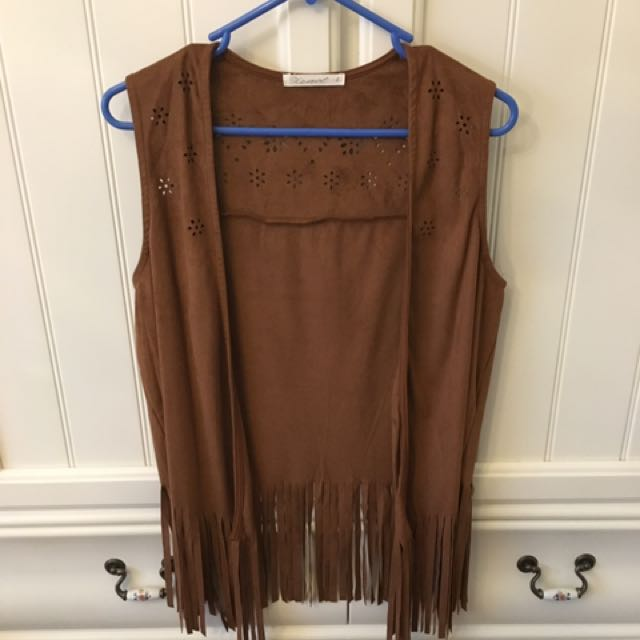 Brown Faux Suede Fringe Vest