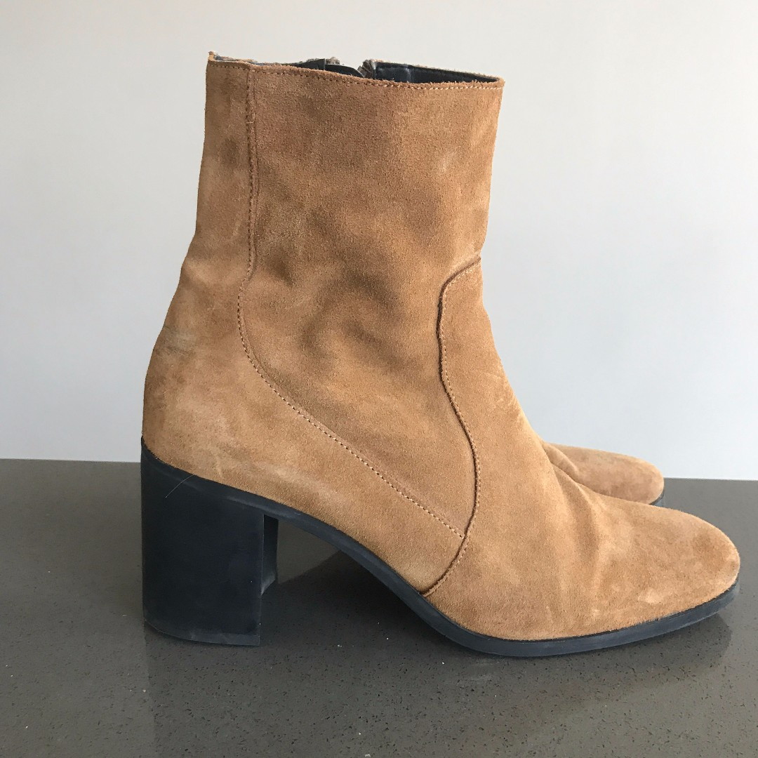 Brown Suede Heeled Zara Boots Size 41