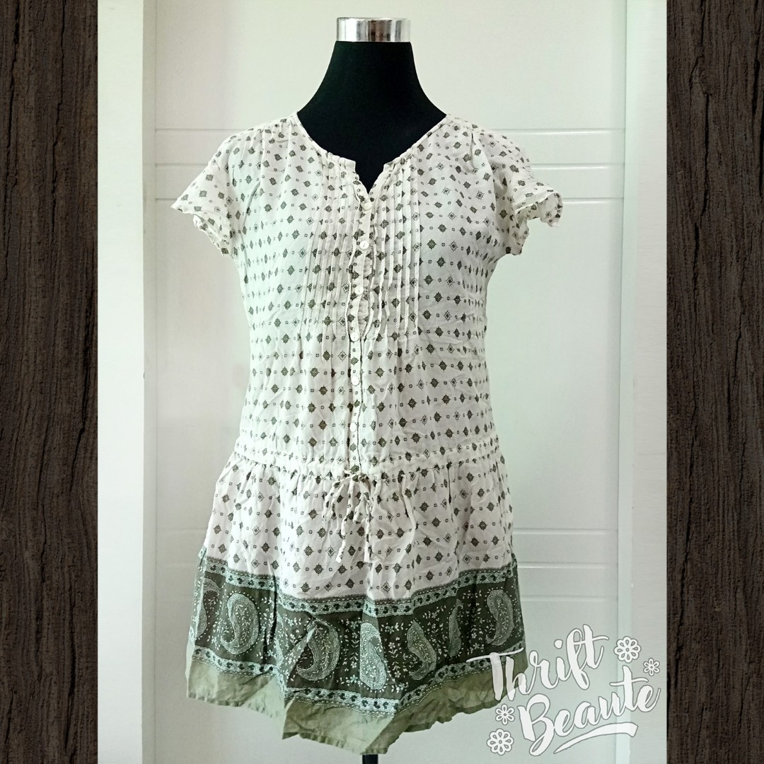 Cream Paisley Printed Dress by Earth Music & Ecology
