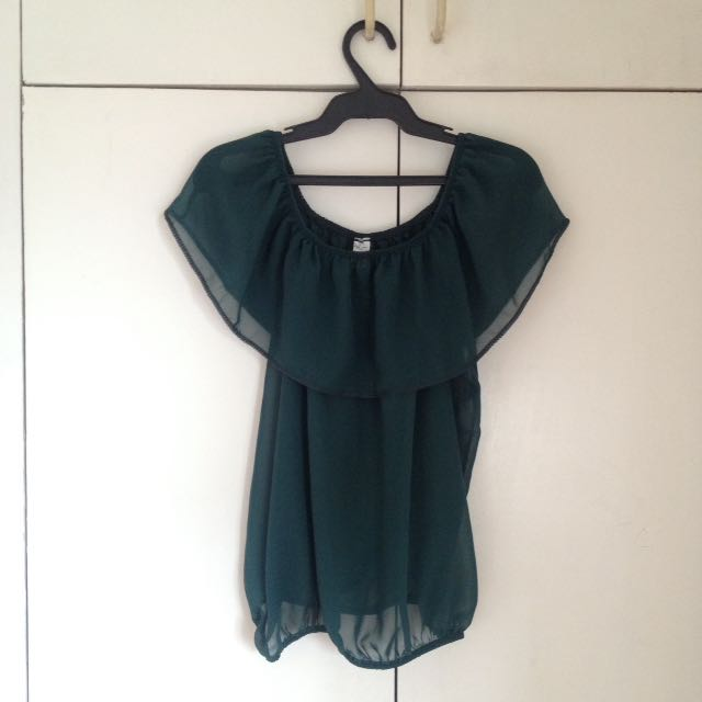 Dark green chiffon off-shoulder top