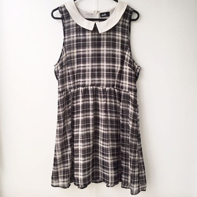 Dotti Size 14 Plaid Tea Dress With Peter Pan Collar
