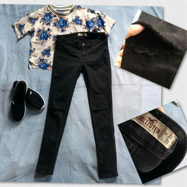 Floral Blouse and Original Tattered Hollister Pants