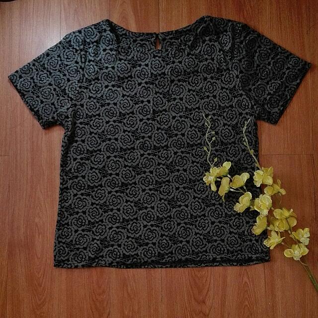 Grey Floral Top