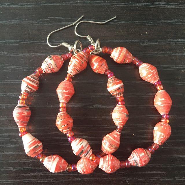 Hand Made Red Hoop Earrings