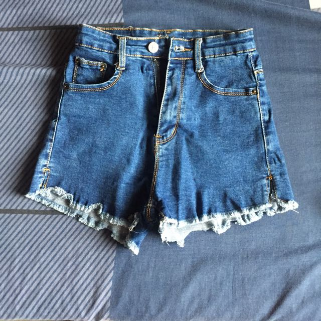high waist maong short