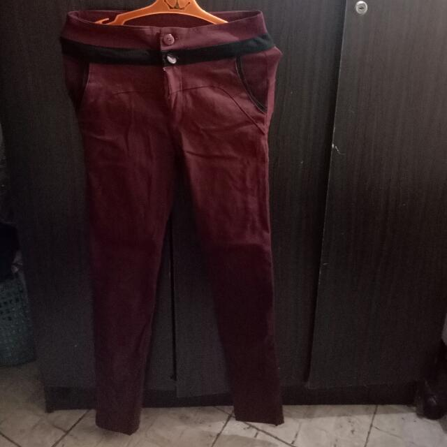 Hight Waisted Maroon Pants (Stretchable)