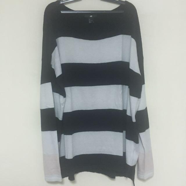 H&M Black & White Stripes Sweater
