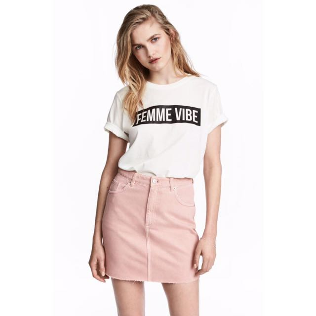 624e7fdc73 H M Light Pink Denim Skirt