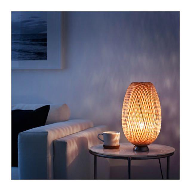IKEA BÖJA 竹桌燈, 鍍鎳, 籐製 竹