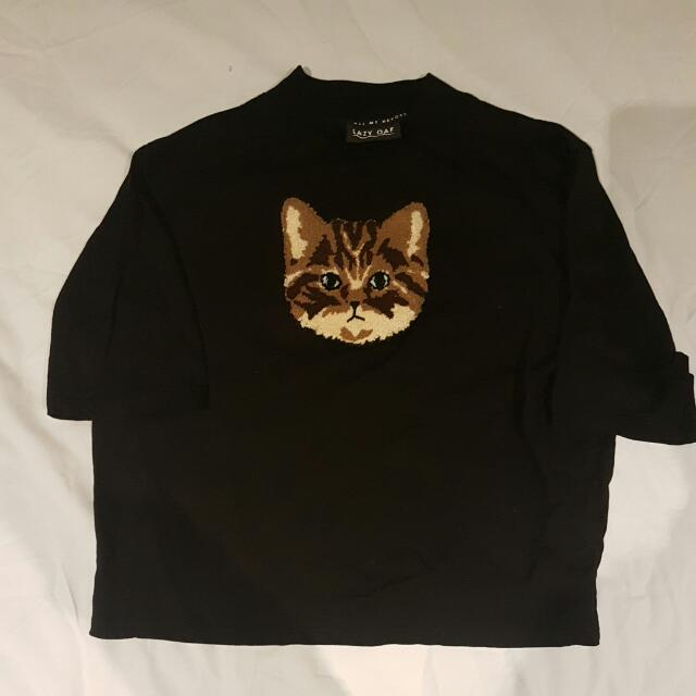 LAZY OAF tabby cat cropped tee