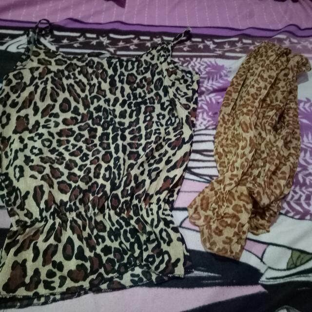 Leopard Slvls With Shawl