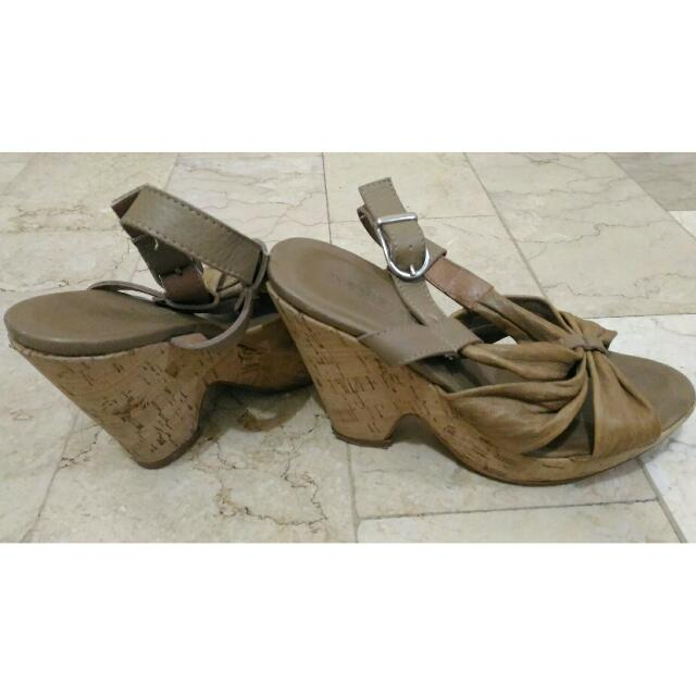 Light Brown Strappy Wedge