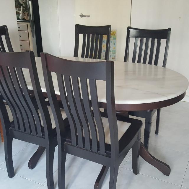 Marbel 3ft X 5ft Dining Table With 6 Chairs Give Away Free Furniture Tables Chairs On Carousell