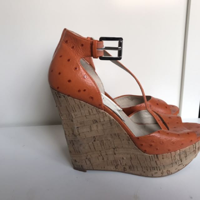 Michael Kors Wedge Sandals Ostrich Leather