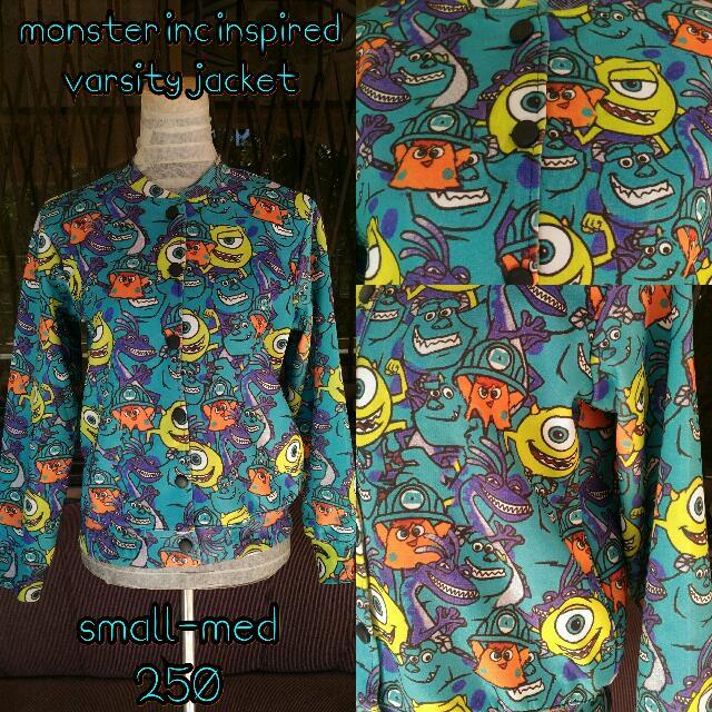 Monster Inc Cartoon Printed Varsity Jacket
