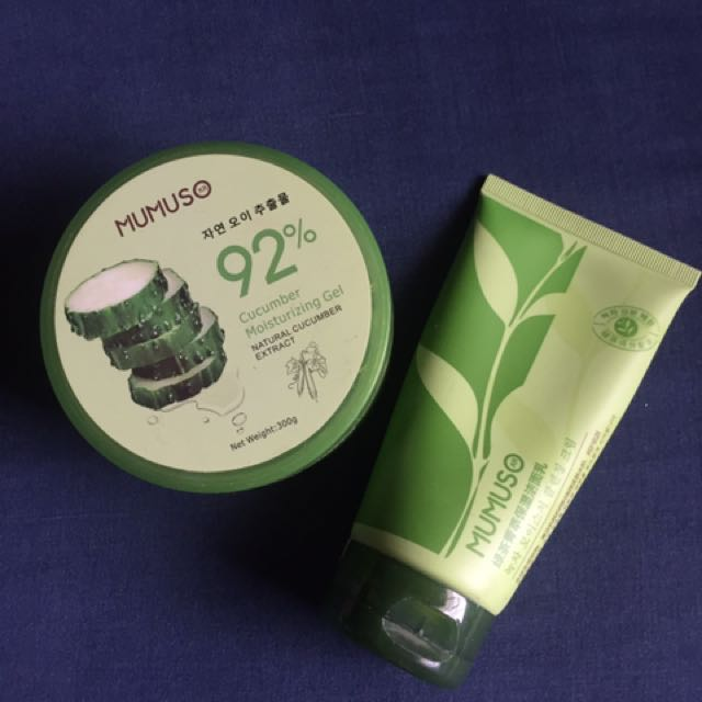 mumuso cucumber moisturizing gel and green tea extract facial cleanser