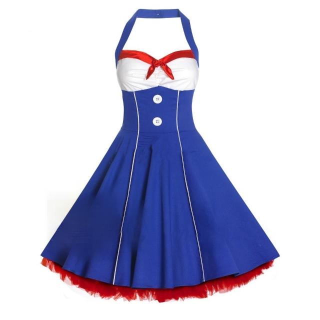 Nautical Sailor Style New 50s Lady Rockabilly Vintage Swing/Pencil Wiggle Dress XL