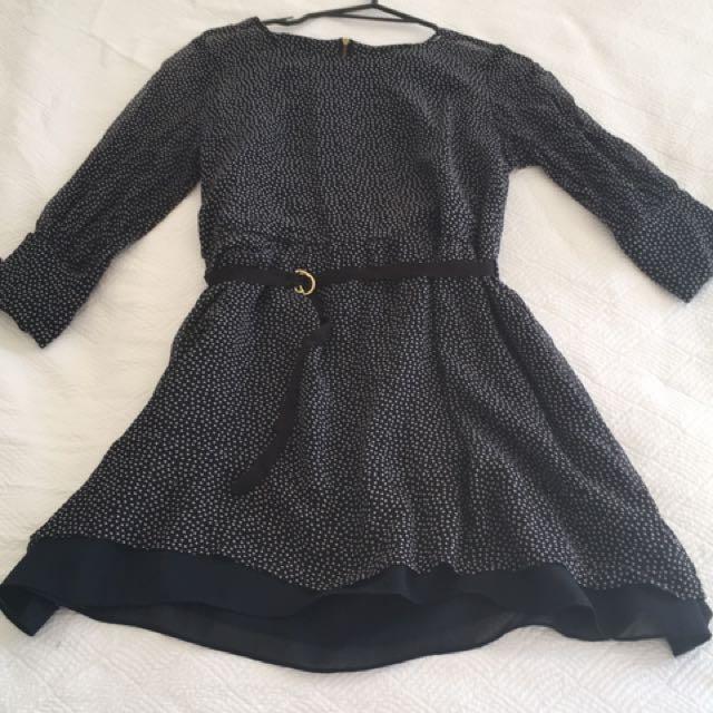 Navy polka-dot dress