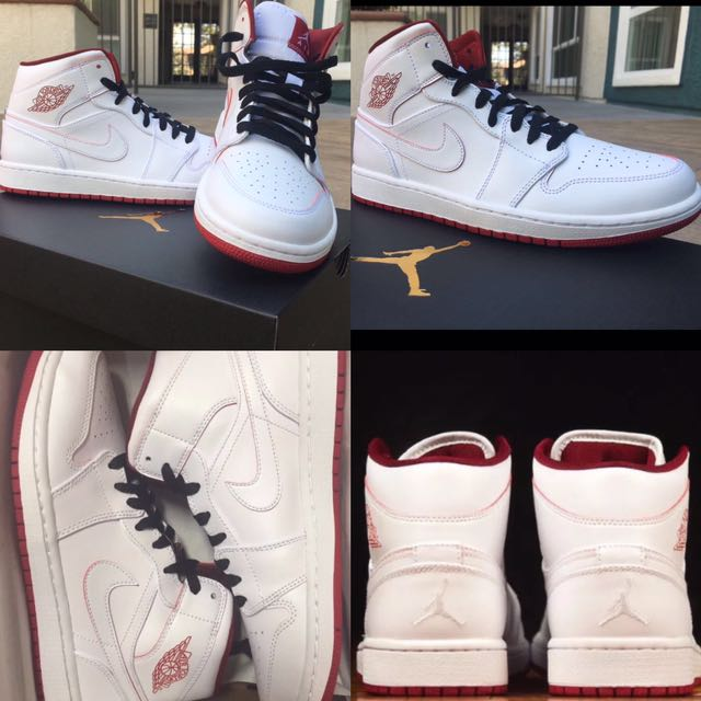 Nike Air Jordan 1 Retro. MID. White/Gym Red. Size: 10. 100% Authentic & New