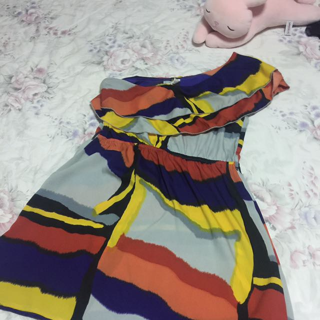 One-shoulder Abstract Dress