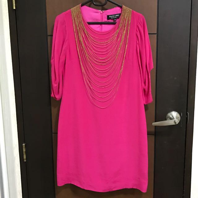 Paul Smith Fuschia Dress with Gold Necklace