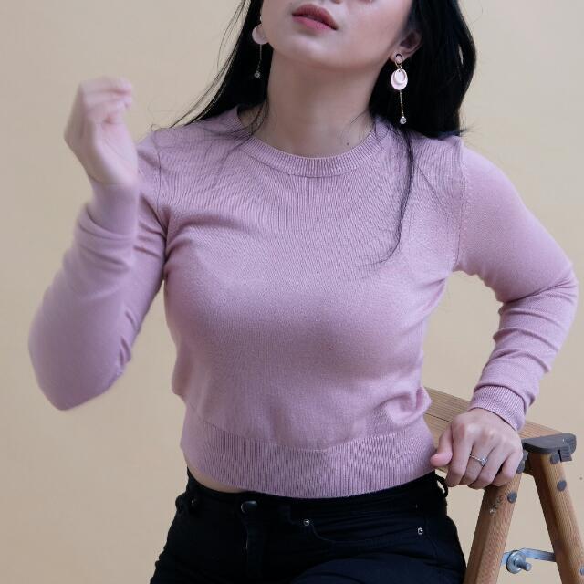 Pink Crop Sweater bershka