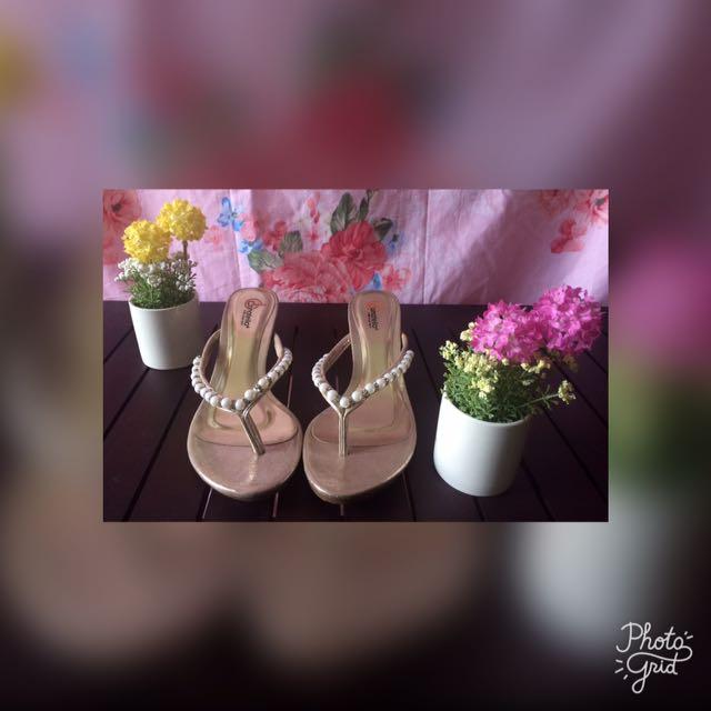 Sandal Pesta Mutiara Uk 38 Hak 5 cm