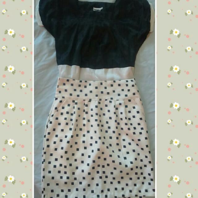 Satin Black & White Top x Pretty Skirt
