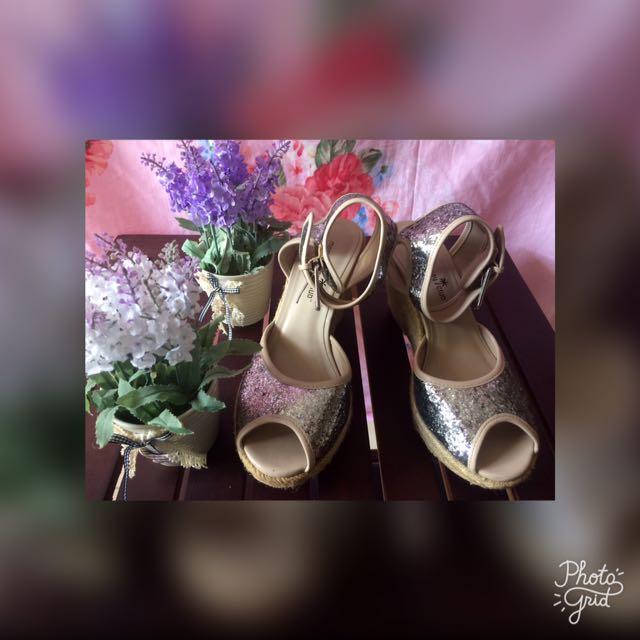 Sepatu Sandal Silver Blink Uk 38 Hak 7 cm
