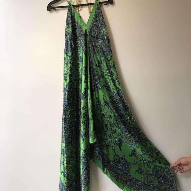 Silky Green Long Dress