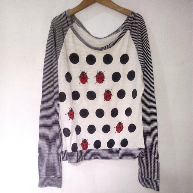 Striped Pullover With Bugs And Polka Pattern