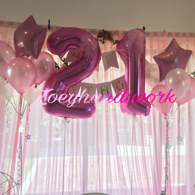 Sweet And Fancy 21st Birthday Helium Balloon Clusters Design