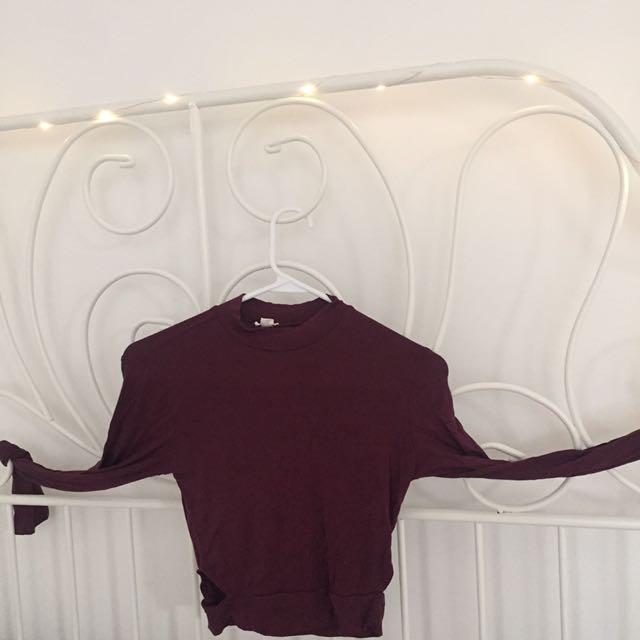 Tight Dark Maroon Long Sleeve Shirt
