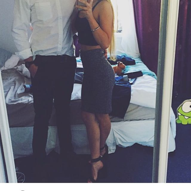 Tight Grey Speckle Midi Skirt