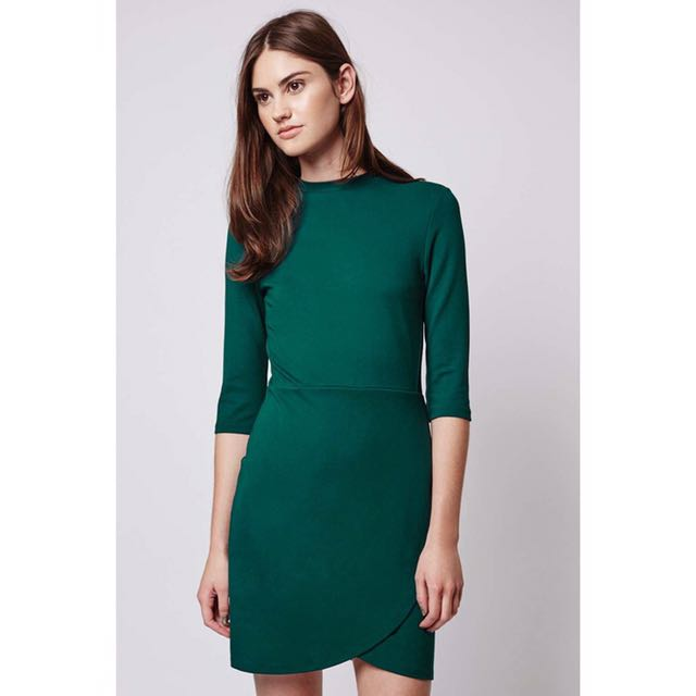 Topshop Dark Green Front Wrap Dress