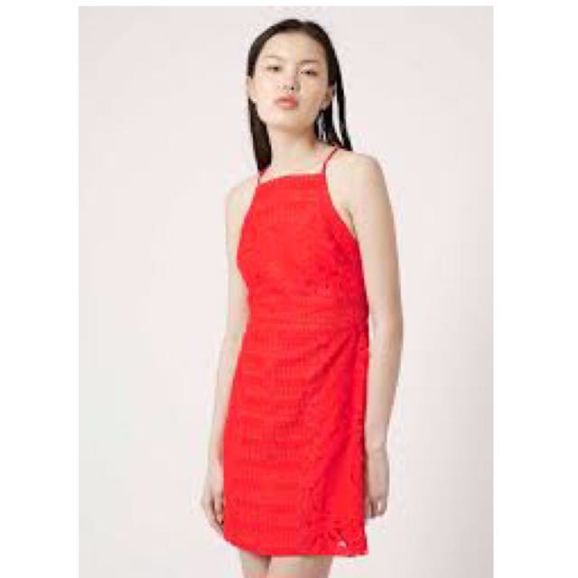 Topshop Red-orange Lace Dress