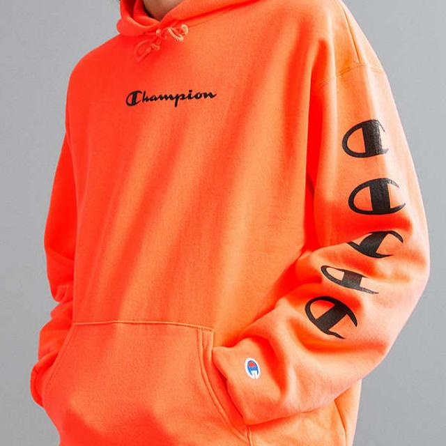 8c47450f5842 URBAN OUTFITTERS X CHAMPION ORANGE REVERSE WEAVE HOODIE SIZE L ...