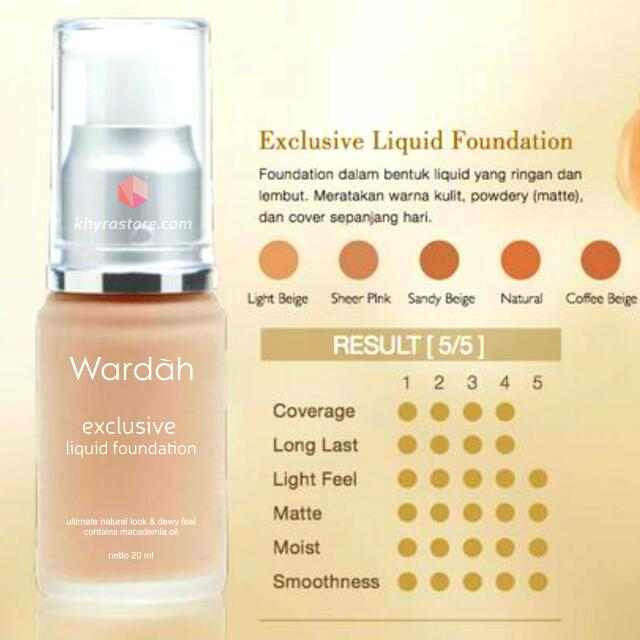 Wardah Exclusive Liquid Foundation ( 20ml ), Health & Beauty, Makeup on Carousell