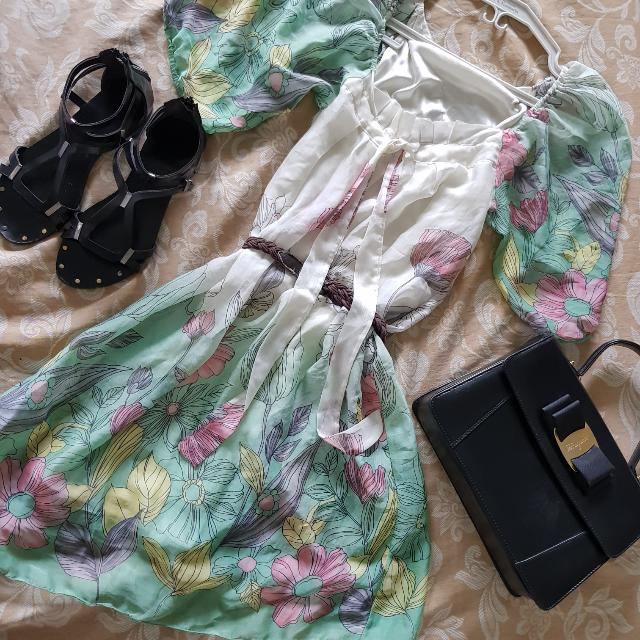 White And Green Sheer Floral Dress
