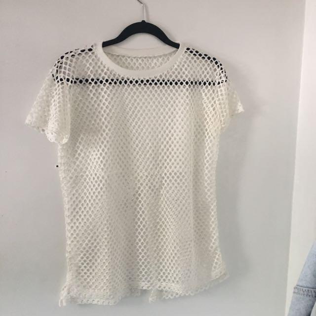 White Open Mesh Knit Top
