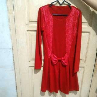 Dress Red Color With Ribbon