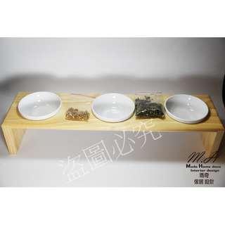 (瑪奇傢居設計)三口 用實木碗架/附強化陶碗<開店送小麥草種子10g>