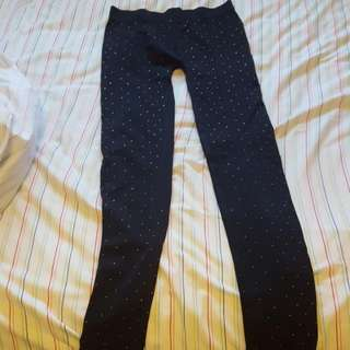 Black Tights With Tiny Gold Jewels