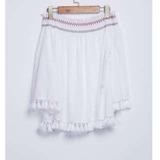 流蘇設計棉麻平口上衣