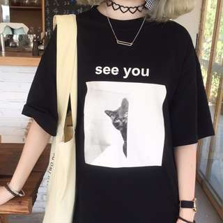 姐妹👭閨蜜裝 See you 👀 貓咪字母上衣🐱