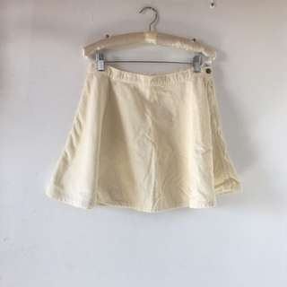American Apparel Corduroy Cream Circle Skirt