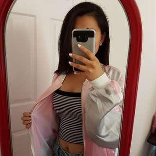Pink satin daisy bomber jacket with mesh lining