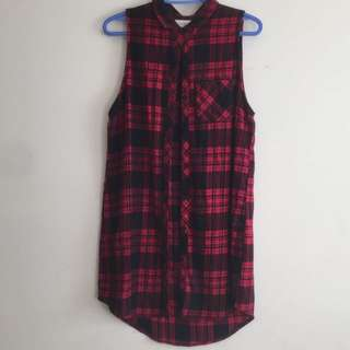 Plaid Sleeveless Long Top