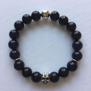 Men's Stretch Bracelet - Black Onyx/Silver Skull