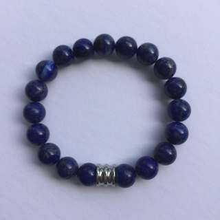 Men's Stretch Bracelet- Lapis Lazuli/Stainless Steel